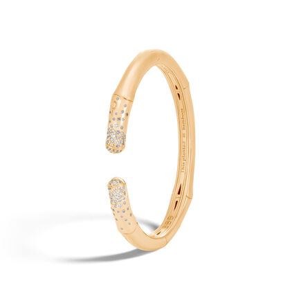 Bamboo 7.5MM Kick Cuff in 18K Gold with Diamonds