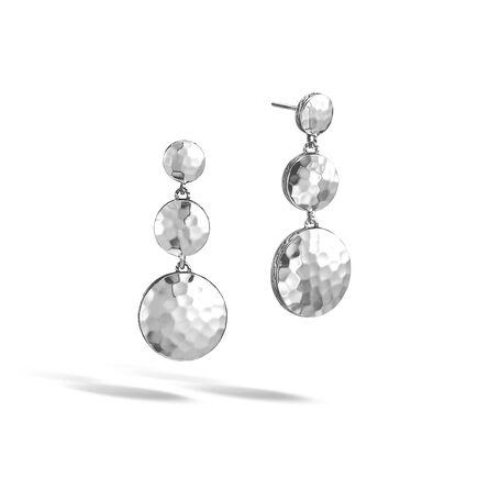 Dot Triple Drop Earring in Hammered Silver