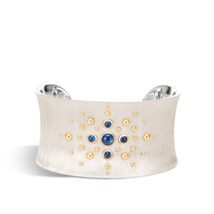 Dot 35MM Cuff in Brushed Silver and 18K Gold with Gemstone