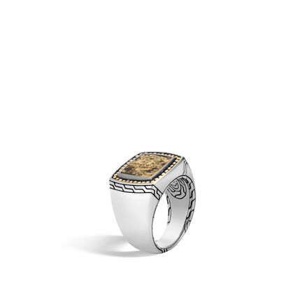 Chain Jawan Signet Ring in Silver and 18K Gold with Gemstone