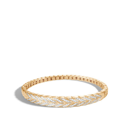 Modern Chain Bangle in 18K Gold with Diamonds