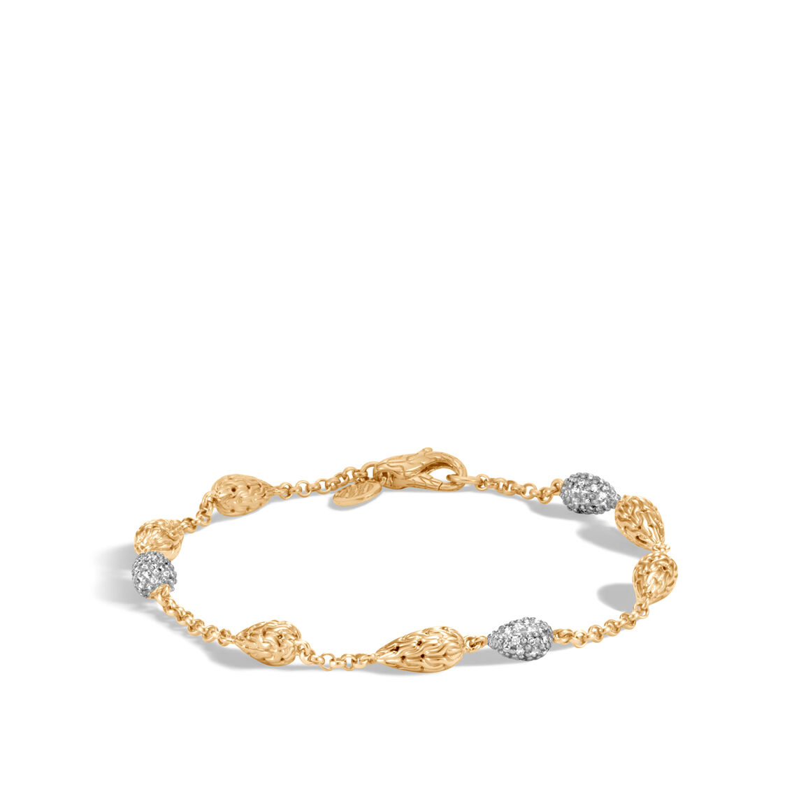 Classic Chain Station Bracelet in 18K Gold, Diamonds