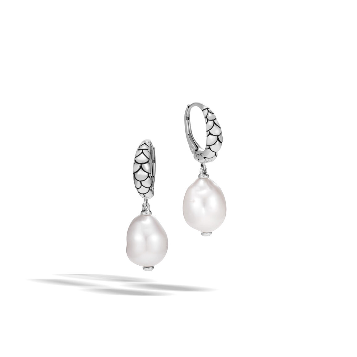 Legends Naga Drop Earring in Silver with 10MM Pearl