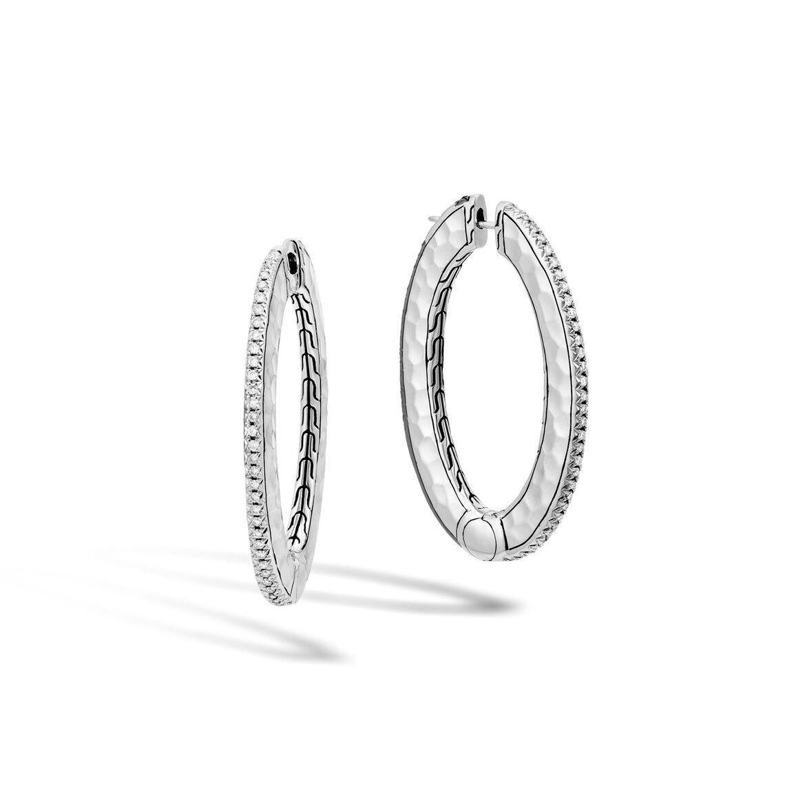 Classic Chain Reversible Hoop, Hammered Silver, Gem, Diamond