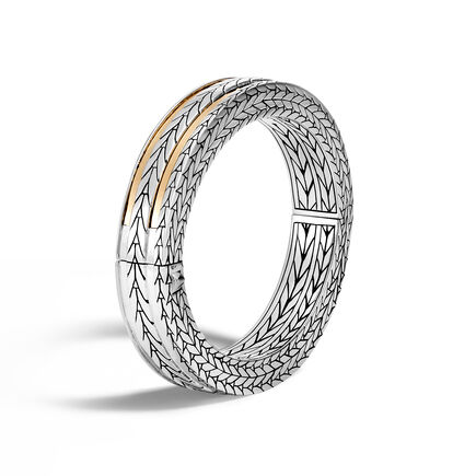 Modern Chain 11.5MM Hinged Bangle in Silver and 18K Gold