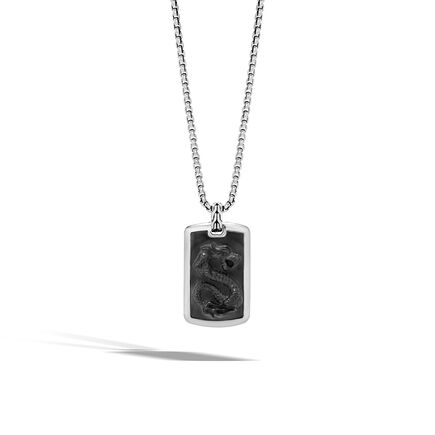Legends Naga Large Dog Tag Necklace in Silver with Gemstone
