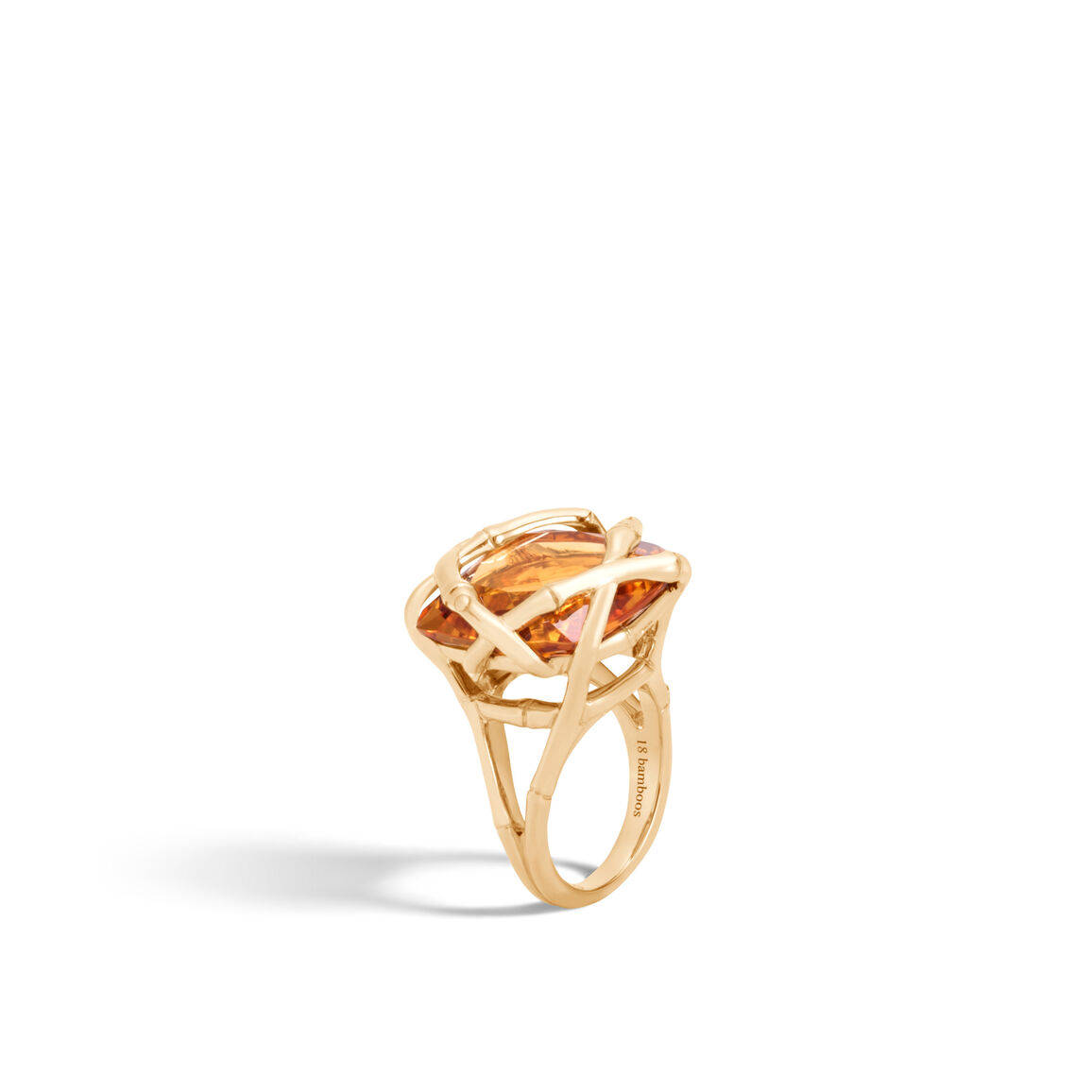Bamboo Ring in 18K Gold with 19MM Gemstone