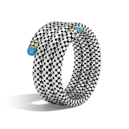 Dot Triple Coil Bracelet in Silver and 18K Gold, Gemstone