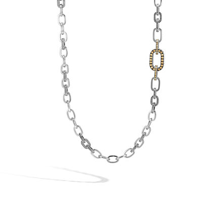 Dot Graduated Link Necklace in Silver and Brushed 18K Gold