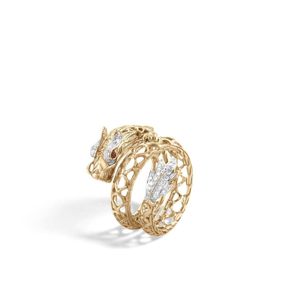 Legends Naga Coil Ring in 18K Gold with Diamonds