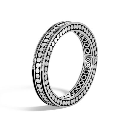 Dot Hinged Bangle in Silver with Gemstone