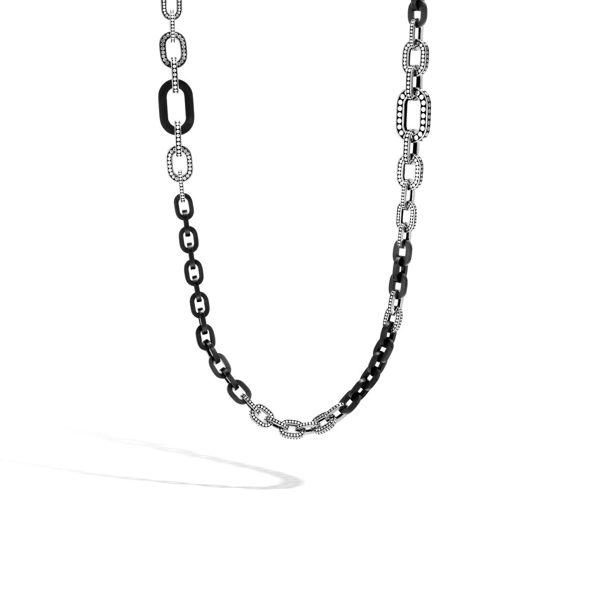 Dot Graduated Link Necklace in Silver and Wood