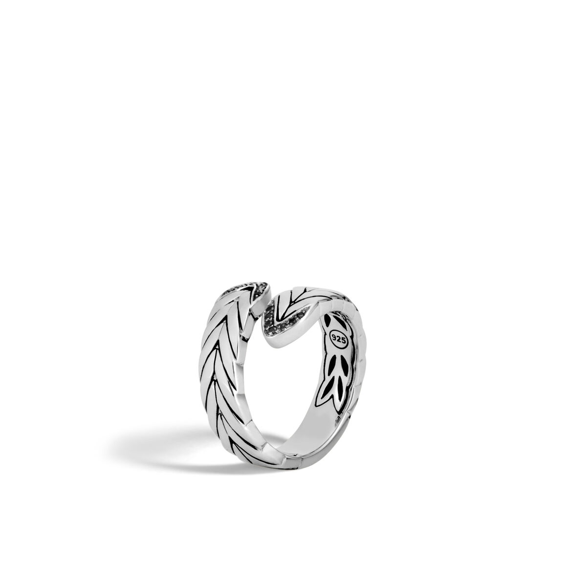 Modern Chain Bypass Ring in Silver with Gemstone