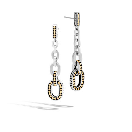 Dot Drop Earring in Silver and Brushed 18K Gold