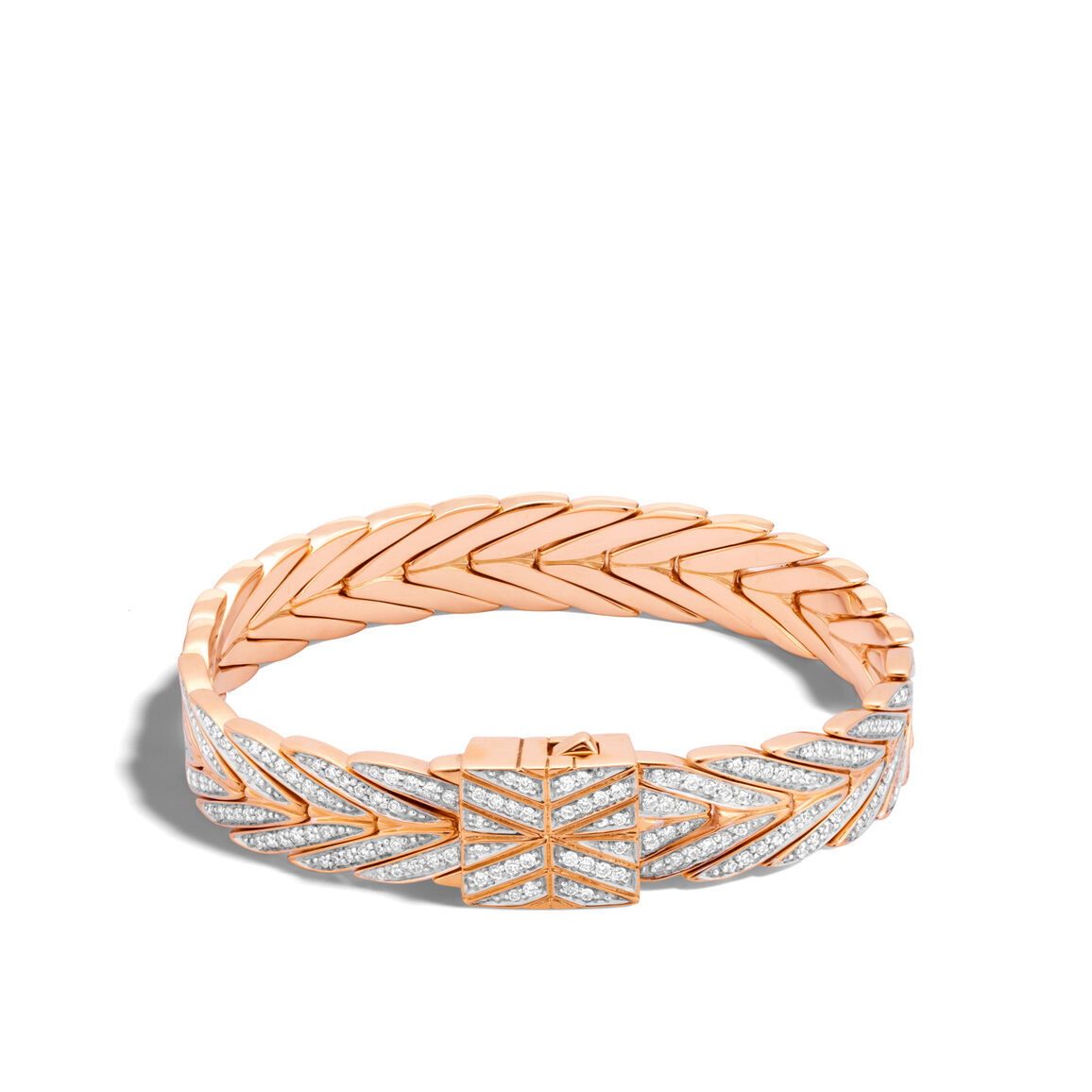 Modern Chain 11MM Bracelet in 18K Rose Gold with Diamonds