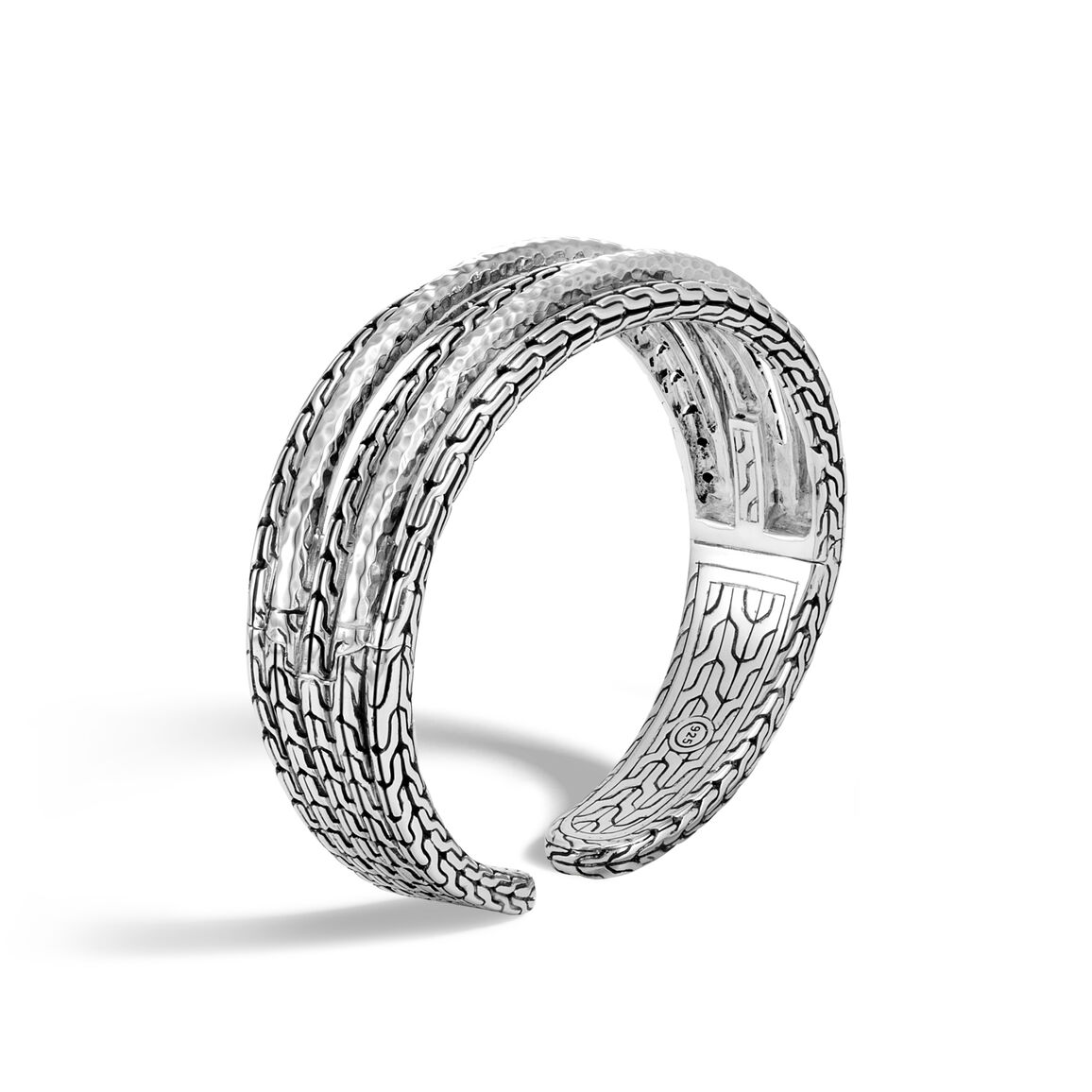 Classic Chain 19MM Cuff in Hammered Silver