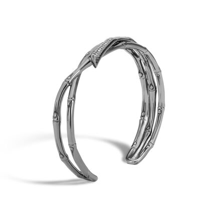 Bamboo 11.5MM Cuff in Blackened Silver with Diamonds
