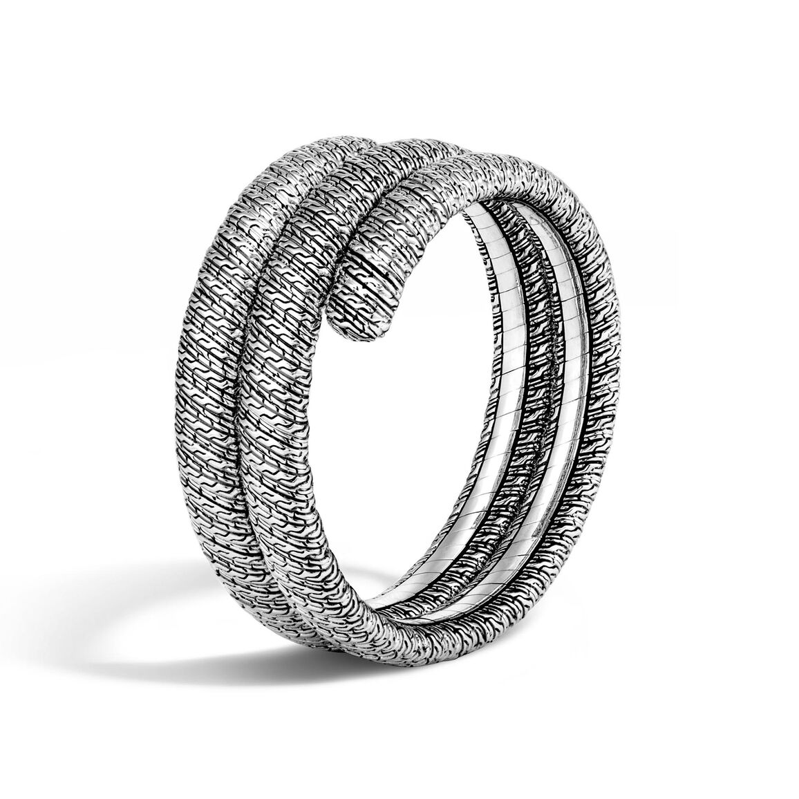 Classic Chain Double Coil Bracelet in Silver