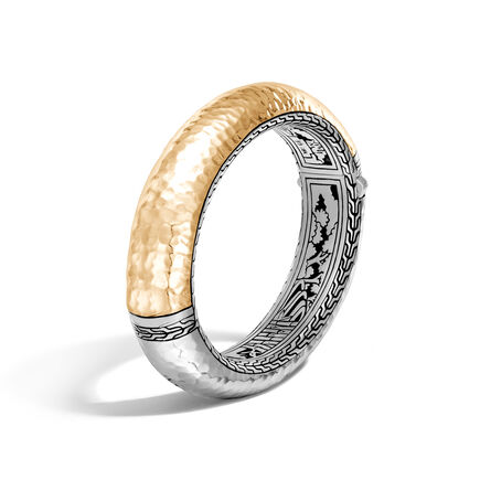 Classic Chain 16MM Hinged Bangle, Silver, Hammered 18K Gold