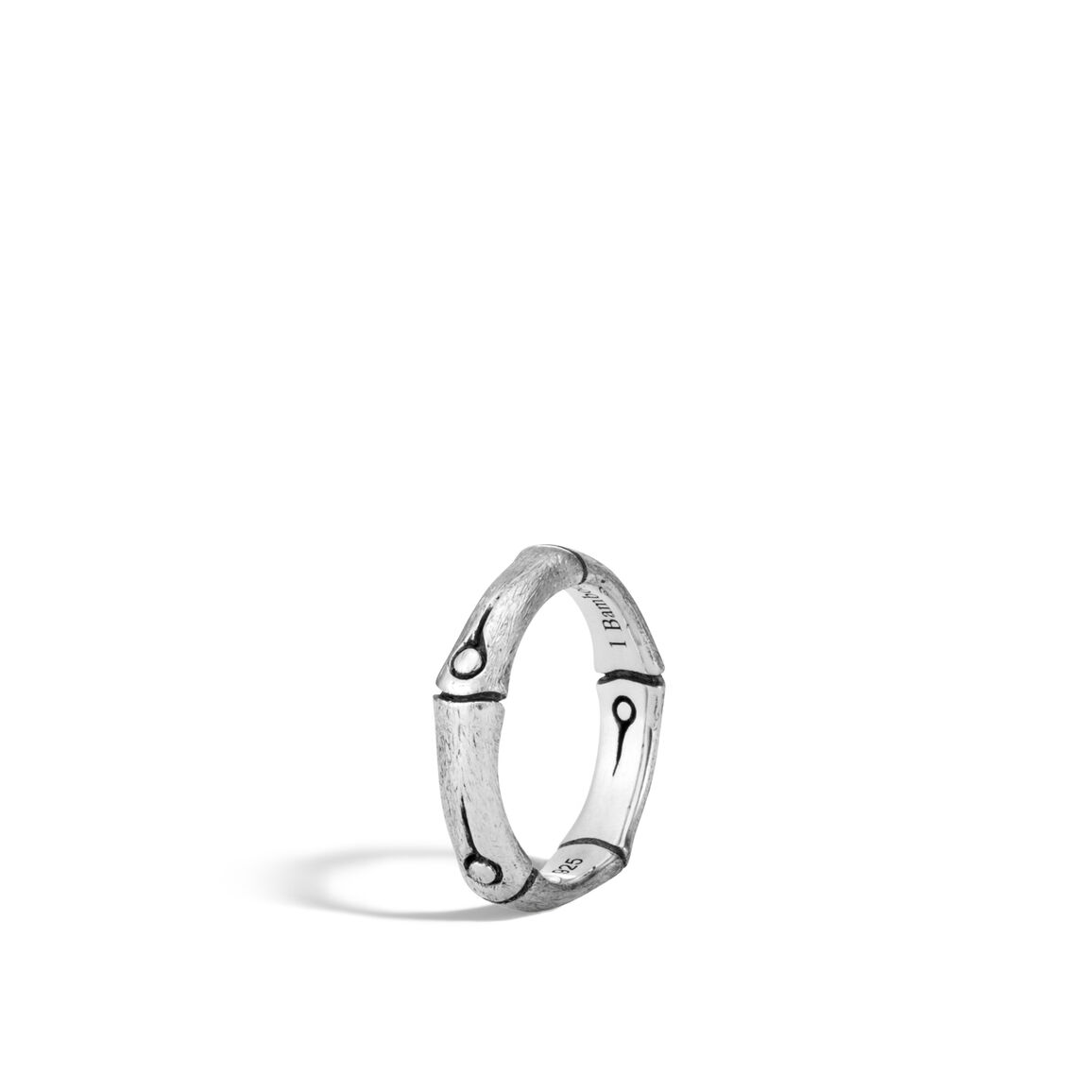 Bamboo 4.5MM Band Ring in Brushed Silver