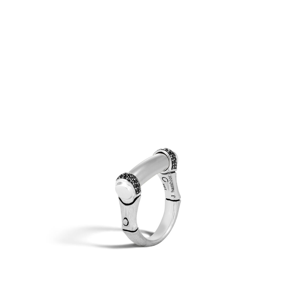Bamboo 5MM Band Ring in Brushed Silver with Gemstone