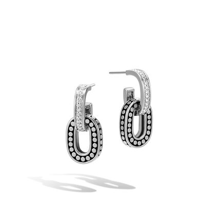 Dot Drop Earring in Silver with Diamonds