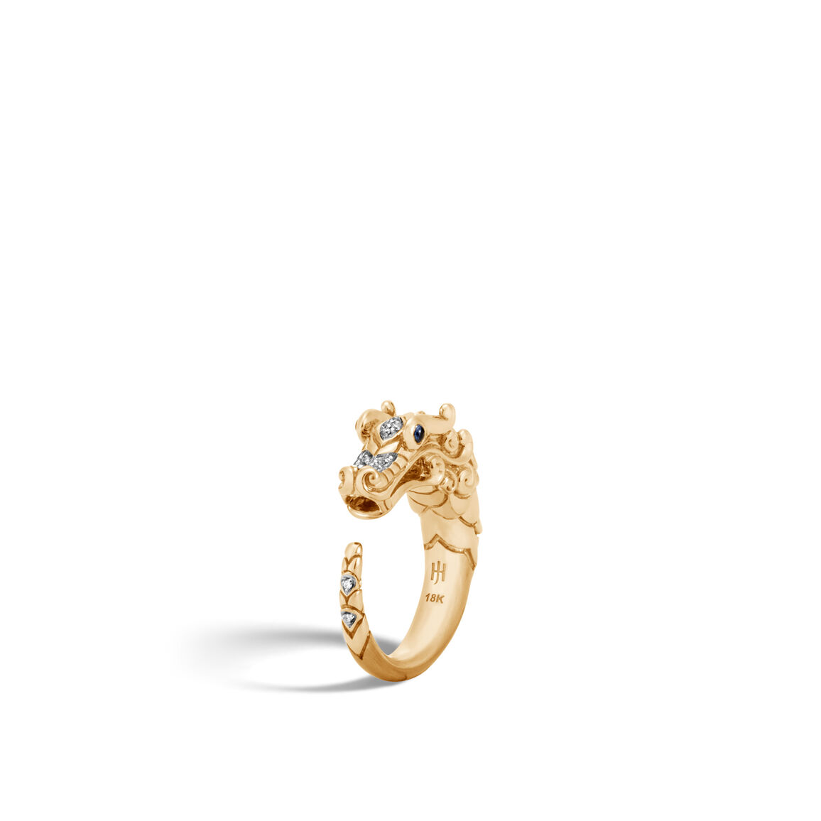 Legends Naga Ring in Brushed 18K Gold with Diamonds
