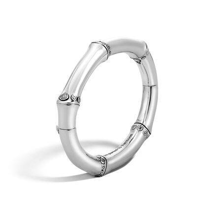 Bamboo 8MM Hinged Bangle in Silver