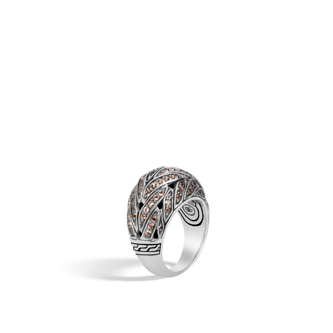 Classic Chain 15MM Dome Ring in Silver with Gemstone