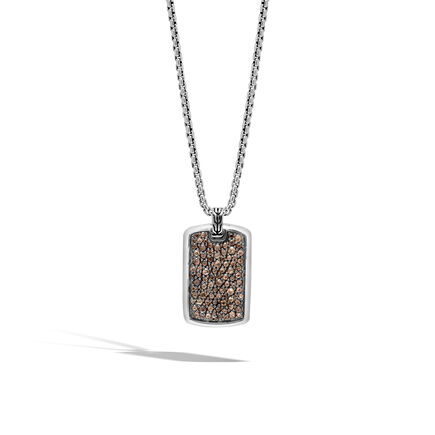 Classic Chain Large Dog Tag Necklace in Silver with Gemstone