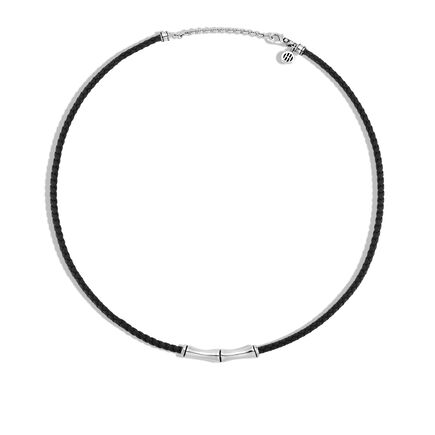Bamboo 3MM Station Necklace in Silver and Leather