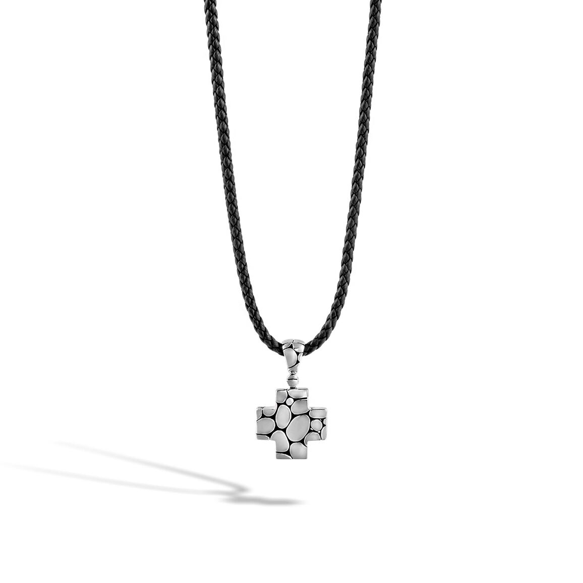 Kali Cross Necklace in Silver and Leather