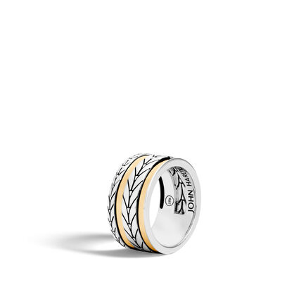 Modern Chain 10.5MM Band Ring in Silver and 18K Gold