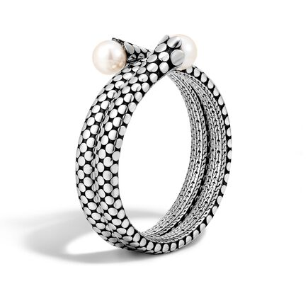 Dot Double Coil Bracelet in Silver with 11MM Pearl