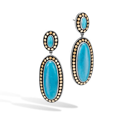 Dot Drop Earring in Silver and 18K Gold, Gemstone