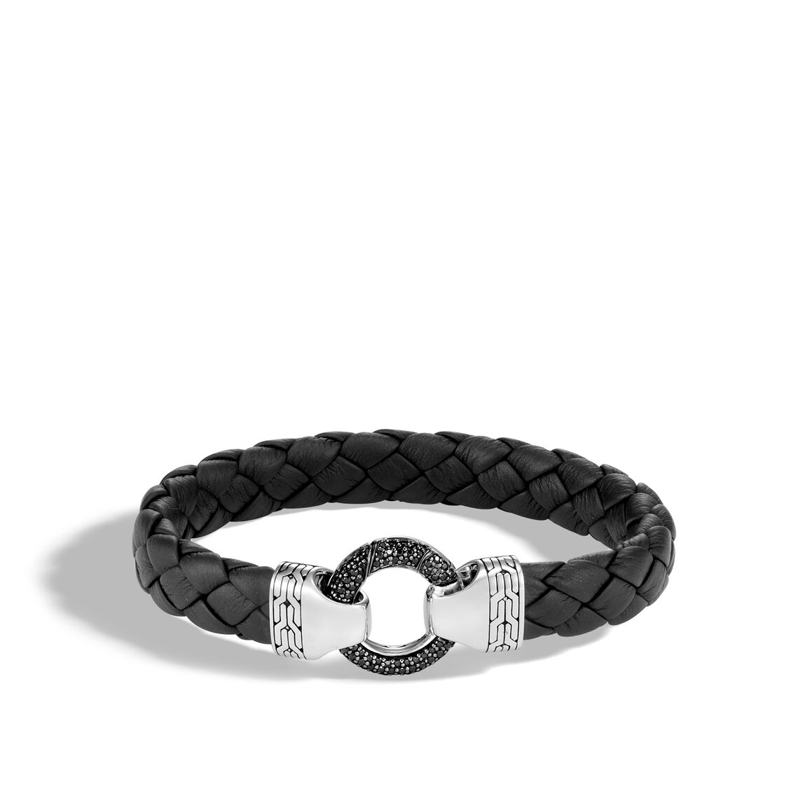 Classic Chain 12MM Ring Clasp Bracelet, Silver, Gem, Leather