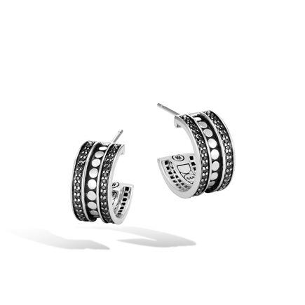 Dot Hoop Earring in Silver with Gemstone