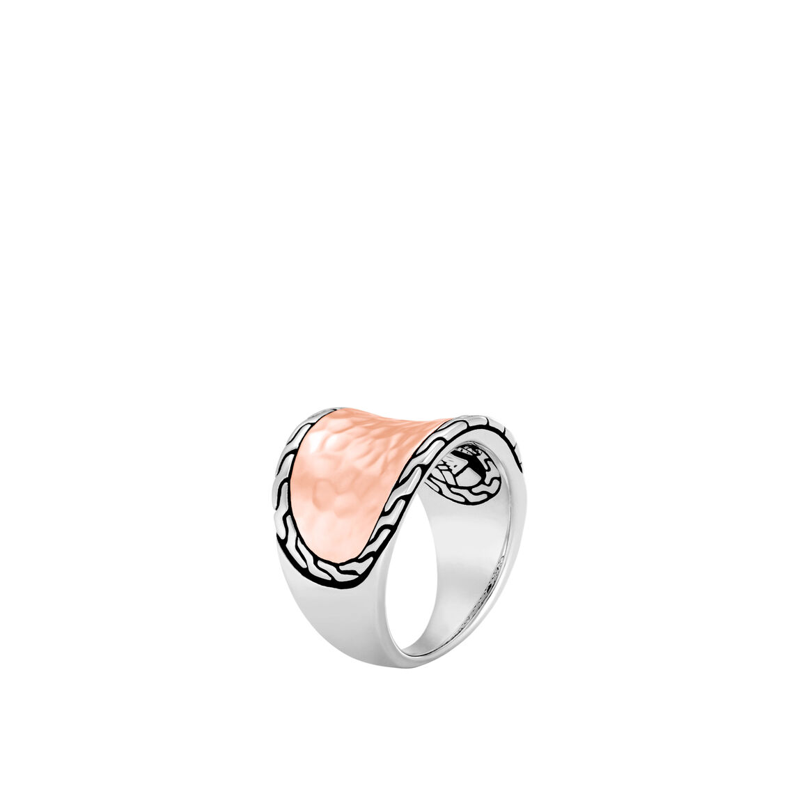 Classic Chain Saddle Ring, Silver, Hammered 18K Rose Gold