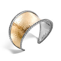 John Hardy - Classic Chain 42.5MM Cuff in Silver and Hammered 18K Gold