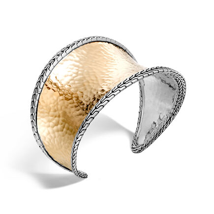 Classic Chain 42.5MM Cuff in Silver and Hammered 18K Gold