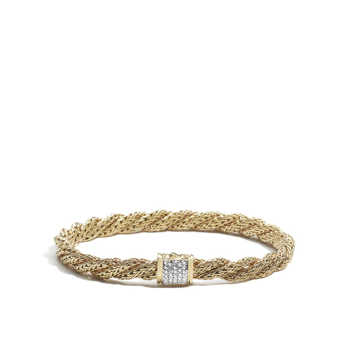 Twisted Chain 5.5MM Bracelet in 18K Gold with Diamonds
