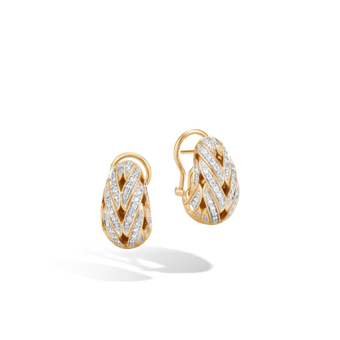 Classic Chain Buddha Belly Earring in 18K Gold with Diamonds