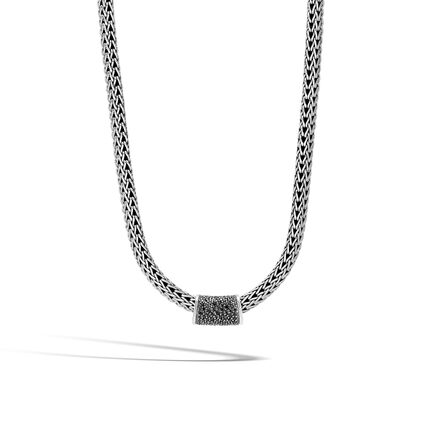 Classic Chain Pendant in Silver with Gemstone