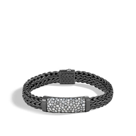 Classic Chain 11MM ID Bracelet in Blackened Silver, Diamonds