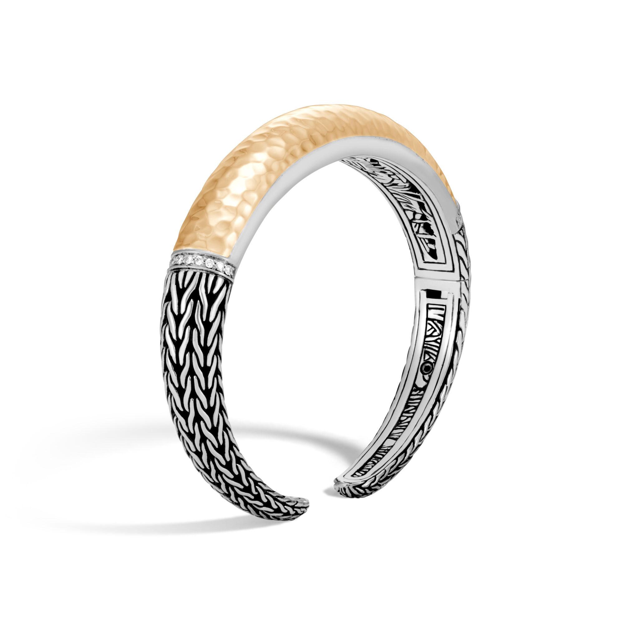 John Hardy Modern Chain 18K Gold & Silver Large Kick Cuff Bracelet Hl8r9JD