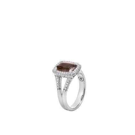 Classic Chain Magic Cut Ring, Silver, 10x7MM Gems, Diamonds