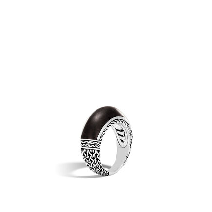Classic Chain 10MM Dome Ring in Silver and Wood
