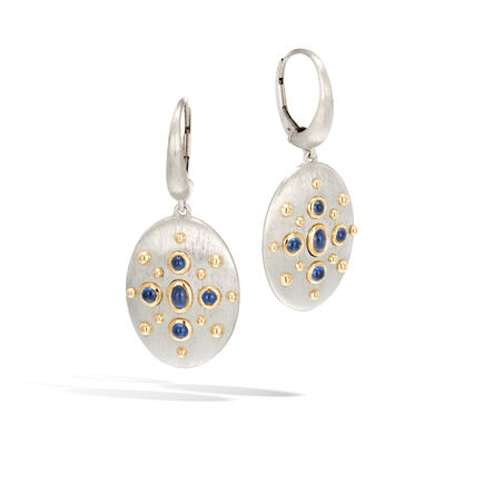 Dot Drop Earring in Brushed Silver and 18K Gold, Gemstone