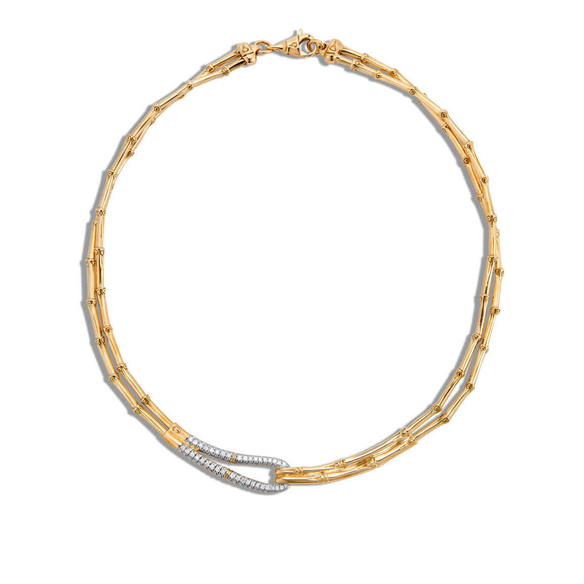 Bamboo 5MM Hook Necklace in 18K Gold with Diamonds