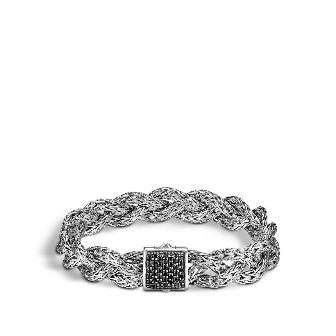 Braided Chain 11MM Bracelet in Silver with Gemstone